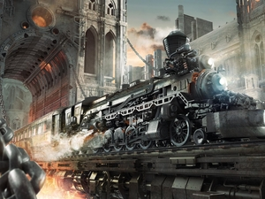 buildings, chain, Train, locomotive, Steampunk