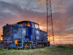 locomotive, pile, Old