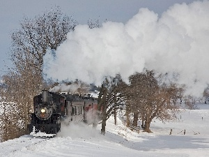 snow, Train, Steam