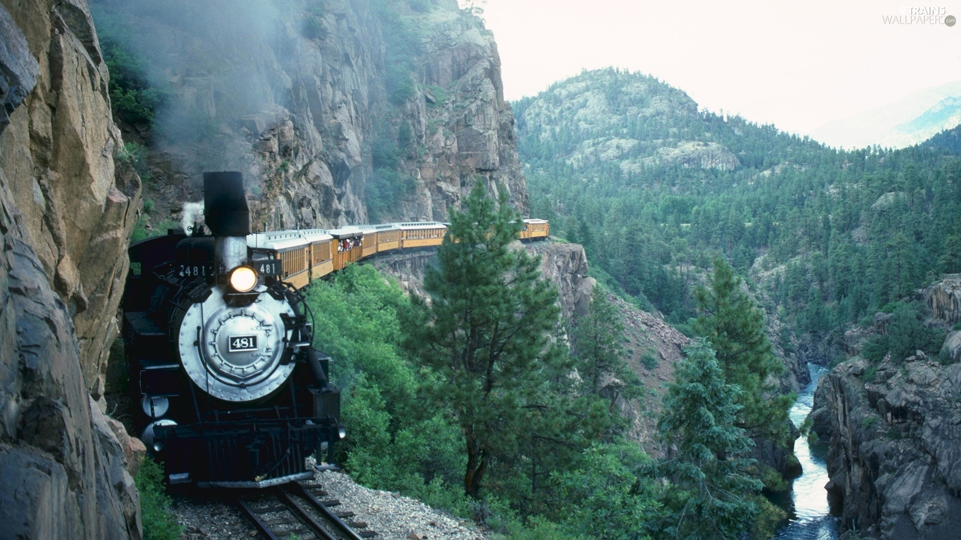Train, Mountains, rocks
