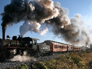 locomotive, smoke, ##, Wagons