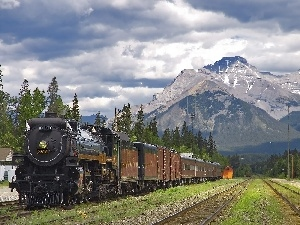 engine, Wagons, Mountains, ##
