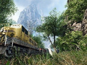 Mountains, locomotive, Train