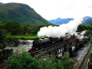 Train, River, Mountains, bridge
