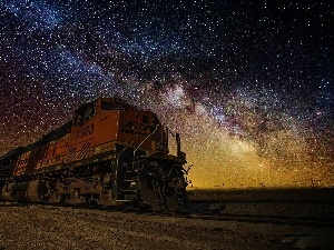 locomotive, star, Sky, Night