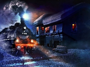 winter, Train, station, Night