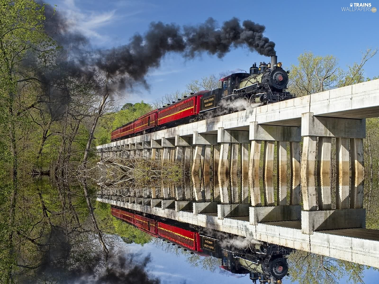 locomotive, reflection, Mirror, bridge